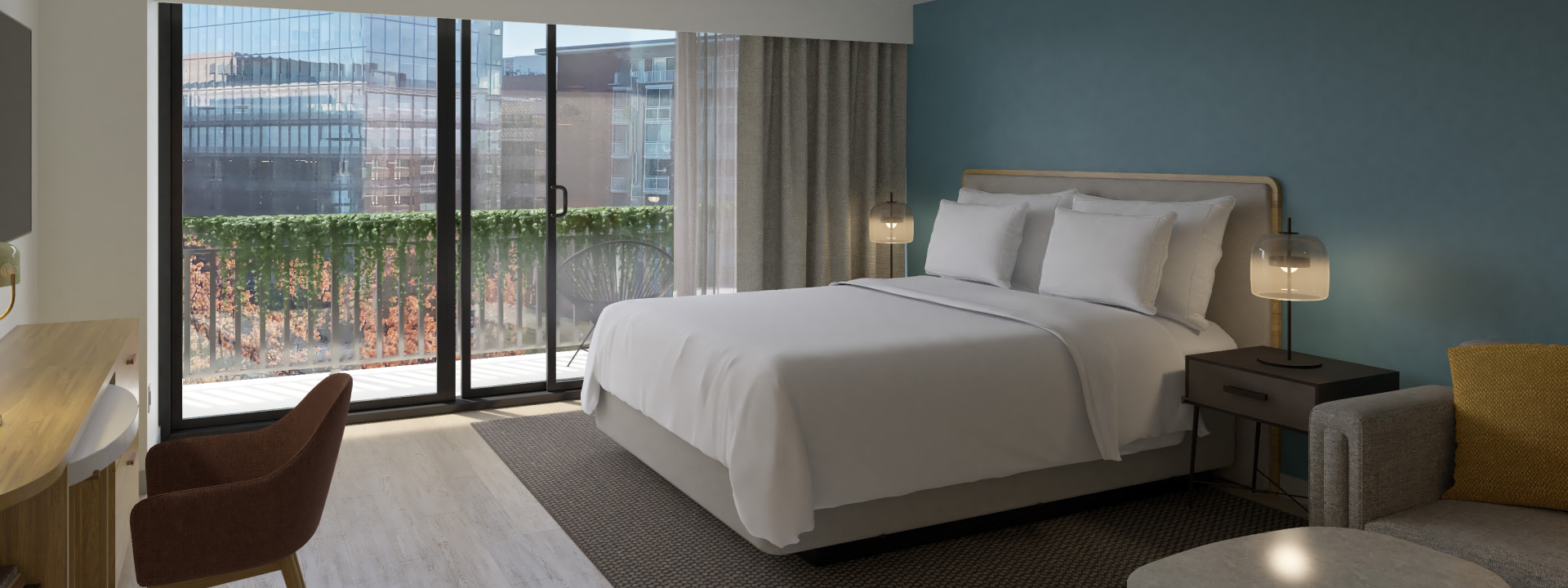 Standard room with bed and desk at Hotel Madera