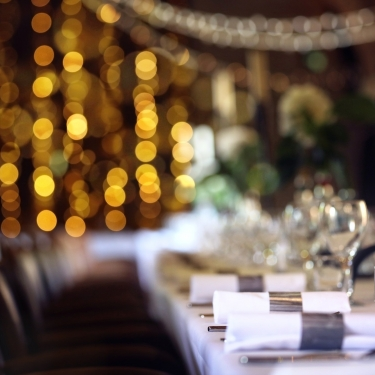 Tables lined with cutlery