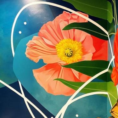 Mural of bright flowers