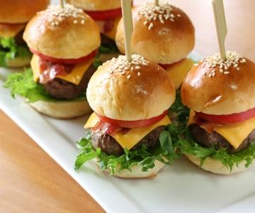 Six small cheeseburgers