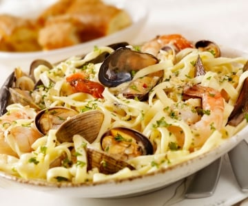 A seafood pasta dish with fresh herbs
